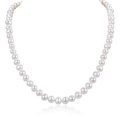 (Forever Love Natural A+ White Cultured Freshwater Pearl Necklace 18