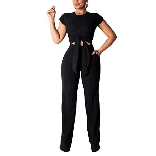 ECHOINE Women's Sexy 2 Piece Outfits - Slim Crop Top Shirts Wide Leg Pants Set Bodycon Jumpsuit Black S