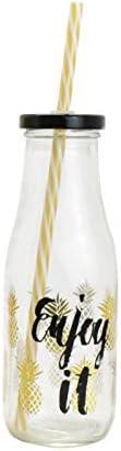 Botella Cristal con Pajita. Edición Summer. Ideal para la Playa/Piscina. Diseño Moderno/Original. 450 ML.-Hogarymas- - B