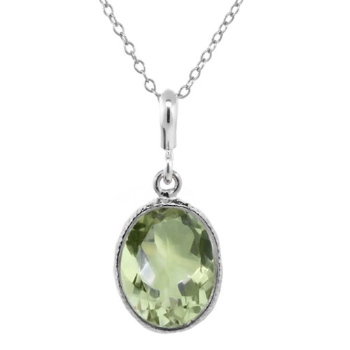 Gem Stone King Sterling Silver 5.00 Ct Green Amethyst 10x14mm Oval Pendant 18inches Chain