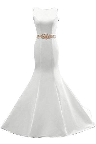 Toskana novia de gran calidad Mermaid piedras rueckenfrei Prom vestido Fiesta Vestido para vestido de noche Weiß