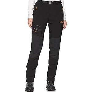 DENGBOSN Femme Pantalon Softshell Imperméable Pantalon Randonnée Thermique Étanche Coupe-Vent Hiver Automne Pantalon de Montagne Escalade Ski