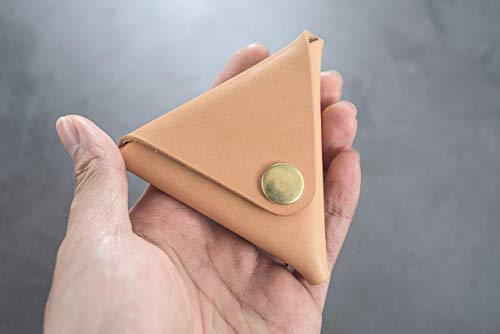 Natural Leather Triangular Coin Case, Coin Pouch