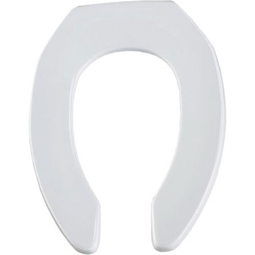 (BEMIS Commercial Open Front Toilet Seat will Never Loosen & Reduce Call-backs, ELONGATED, Long Lasting Solid Plastic, White,)