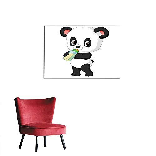Art Stickers Cute Baby Panda Holding Milk Bottle Mural 24