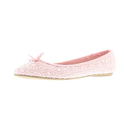 905f4072f443 Gold Toe Women s Lauren Floral Lace Knit Ballet Flats with Arch Support and  Accent Bow delicate