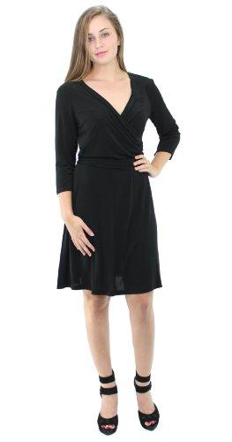 (AGB Women's 3/4 Sleeve Solid Jersey Faux Wrap Dress (M, Black))