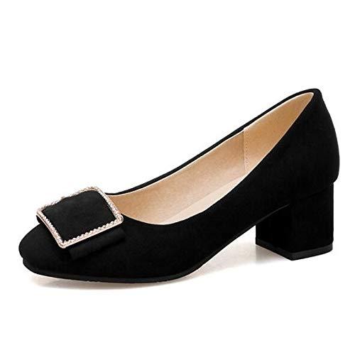 Suede Comfort Women's ZHZNVX Black Spring Black Heel Shoes White Chunky Heels Pink 4wE4xIr
