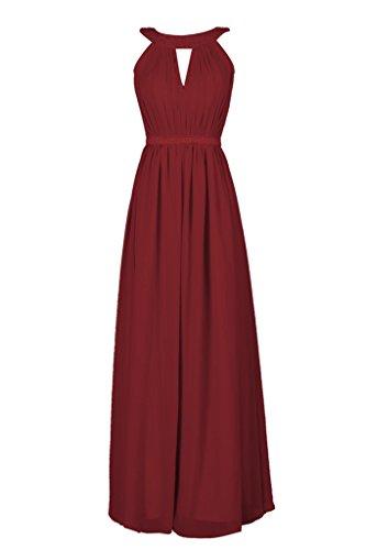 Dressever Robes De Demoiselle D'honneur En Mousseline De Soie De Femmes Longues Robes De Bal Bordeaux