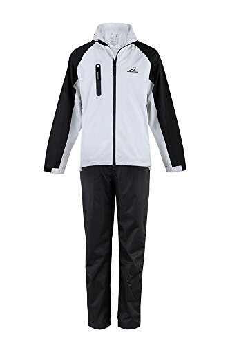 Woodworm Golf V2 Mens Waterproof Jacket and Pants Golf Rainsuit White ()