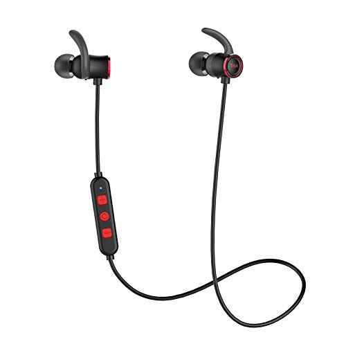 Tribit XFree Color Bluetooth Earbuds with Microphone - Wireless Earbuds Running Headphones, Rock-Solid Bass, IPX5 Waterproof, Up to 10 Hrs playtime - Magnetic Sports Headphones, Ruby Red