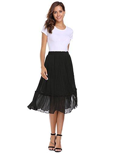 Zeagoo Women's Elast High Waist Basic Pleated A-line Midi (Womens A-line No Pleat Skirt)