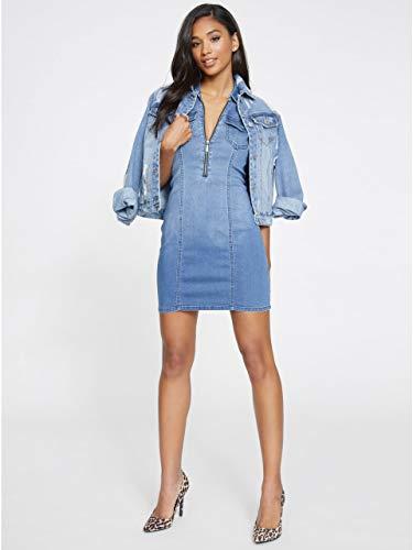 G by GUESS Women's Nini Denim Bodycon Front Zip Dress