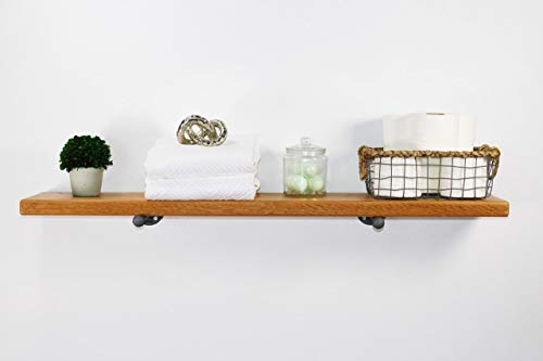 Industrial Pipe Floating Shelf with Cedar Wood by William Roberts Vintage