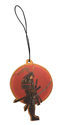 (Japanese Warrior Samurai w/Bloody Sword Engraved Printed Wooden Rear View Mirror Car Charm Dangler )