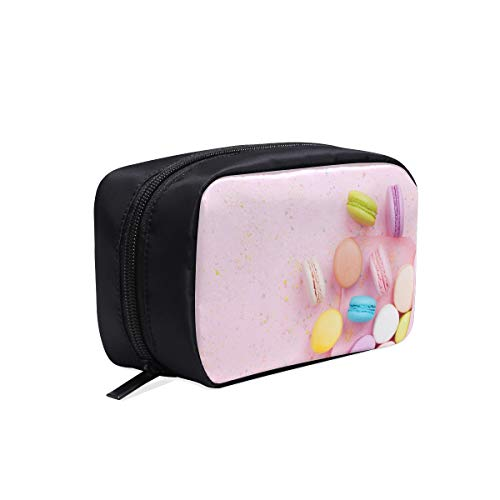 (Different Colorful Raspberry Macarons Portable Travel Makeup Cosmetic Bags Organizer Multifunction Case Small Toiletry Bags For Women And Men Brushes Case)
