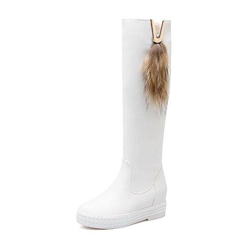 AllhqFashion Damen Rund Zehe Knie Hohe Mittler Absatz PU Leder Stiefel Weiß