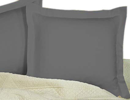 European Square Pillow Shams Set of 2 Pillowcase Euro Shams 26x26 Dark Grey Pillow Covers - Luxury 550 TC European Pillow Shams 100% Egyptian Cotton ,Gorgeous Euro Size Decorative Pillow cover/Cases