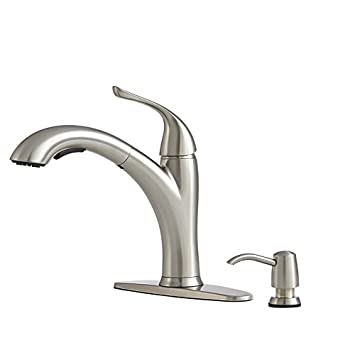Giagni Abete Stainless Steel 1 Handle Pull Out Deck Mount Kitchen Faucet  Model #