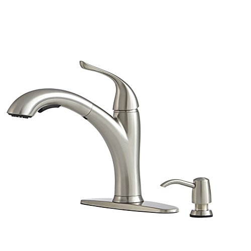 Giagni Abete Stainless Steel 1-Handle Pull-out Deck Mount Kitchen Faucet Model # LK200-SS