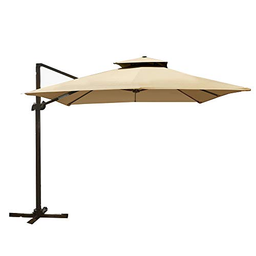 (sogesfurniture 10 Feet Double Top Deluxe Square Patio Umbrella Offset Hanging Umbrella Outdoor Market Umbrella Garden Umbrella,)