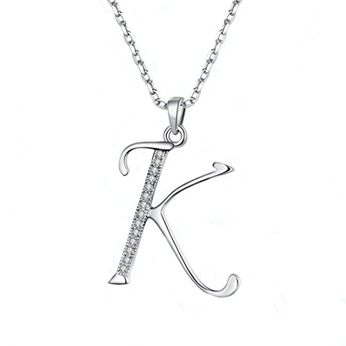 JUFU Fashion Jewelry 925 sterling silver 26 Alphabet Letter Pendant Necklace 18+2