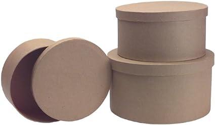 8 x 4 in Round Paper Mache Box