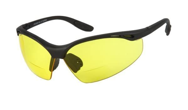 1594ceb71e959 Amazon.com  Readers.com The Clark Bifocal Safety Reader +2.50 Matte Black  Frame with Yellow Lenses Unisex Sport   Wrap-Around Reading Sunglasses by  Cougar ...