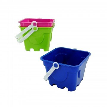 Square Beach Sand Pail – Perfect for The Beach, Lakes, The Park, Or Sand Boxes – Great for Summer Fun – Make Beautiful Sand Castles - Assorted Colors - by Qornerstone