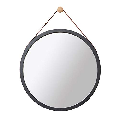 Bathroom Wall Round Mirror-Adjustable Faux Leather Hanging Strap-Bamboo Framed Wall-Mounted Vanity Mirrors Shaving Mirror Magnifying Mirror Shower Make-up Mirror Diameter: 38 cm