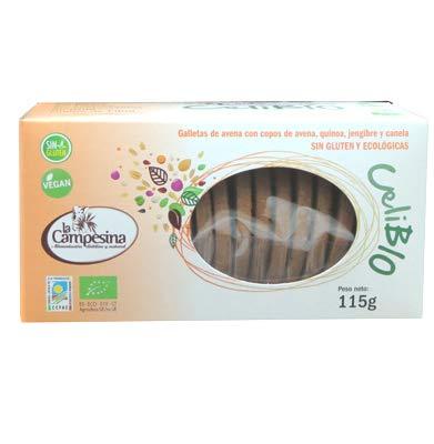 Celibio galletas avena, jengibre y canela, sin gluten y ecológicas ...