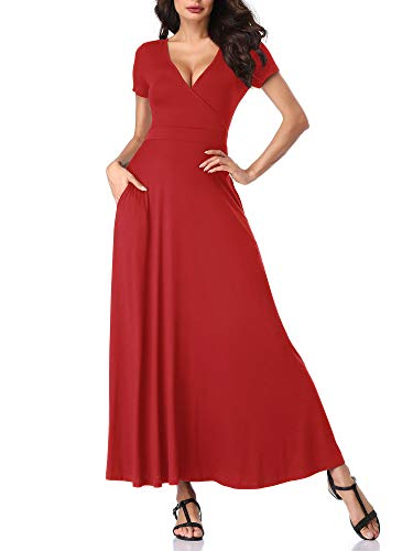 HUHOT Womens Short Sleeves V Neck A Line Summer Wine Red Maxi Misses Dresses 19078-2 XX-Large