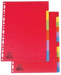 ELBA Karton-Register, blanko, DIN A4, farbig, 12-teilig VE=1