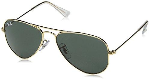 Ray-Ban Junior RJ9506S Aviator Kids Sunglasses, Gold/Green, 52 ()