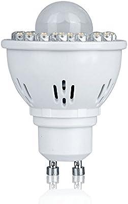 Pack de 1 GU10 2 W PIR sensor de movimiento foco LED bombillas luz blanca cálida de 3000 K 170LM 120Beam ángulo 32LEDs carcasa de aluminio 75 W bombilla ...