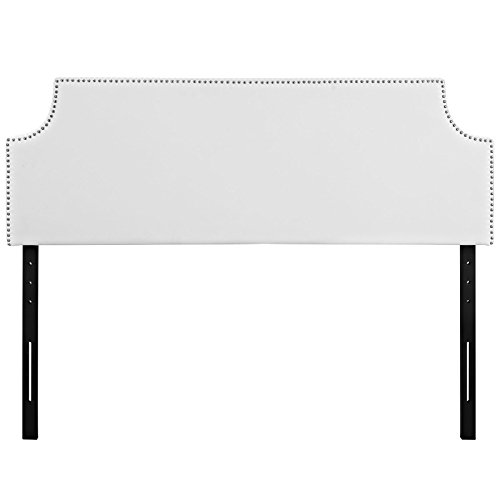 Manhattan Full Headboard - Modway Laura Faux Leather Upholstered Full Size Headboard with Cut-Out Edges and Nailhead Trim in White