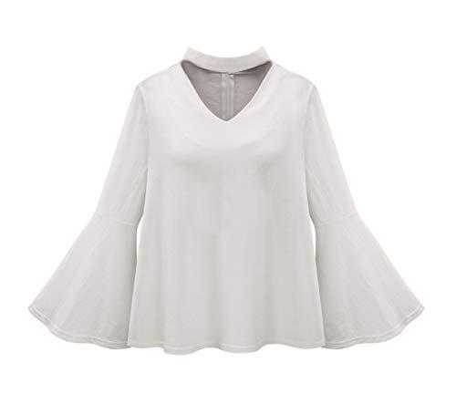 Simple-Fashion Primavera e Autunno Donna Top Casual Tinta Unita Camicie T-Shirt Tumblr Giovane Moda V Collo Maniche a Campana Bluse Tee Shirts Bianca