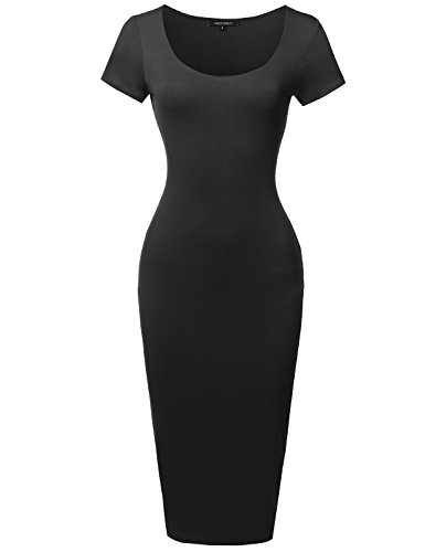 Awesome21 Solid Scoop Neck Double Layer Short Sleeves Body-Con Dress Black Size S ()