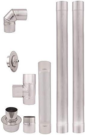 Tubos de escape de estufa pellets acero inoxidable 80mm AISI 304 2m. Revestimiento chimenea recto 90°Codo T Tapón de limpieza Conector acoplamiento rosetón 80-150mm resistente al calor Una pared