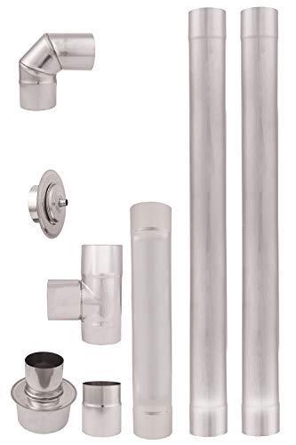 Tubos de escape de estufa pellets acero inoxidable 80mm AISI 304 2m. Revestimiento chimenea recto 90°Codo T Tapón de limpieza Conector acoplamiento rosetón 80-130mm resistente al calor Una pared