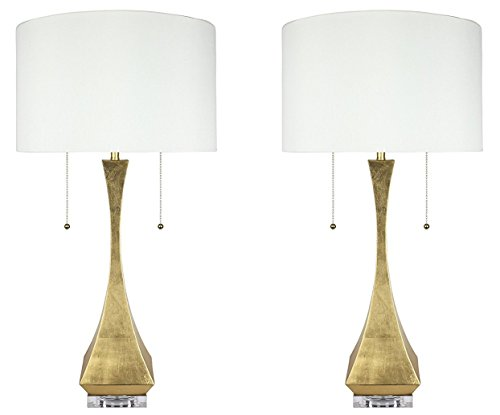- Urbanest Set of 2 Messina Table Lamps, Antique Gold, 28-inch Tall