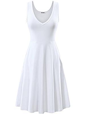 HUHOT Womens Sleeveless V Neck Dress Pocket Summer Beach Midi Flared Tank Dress