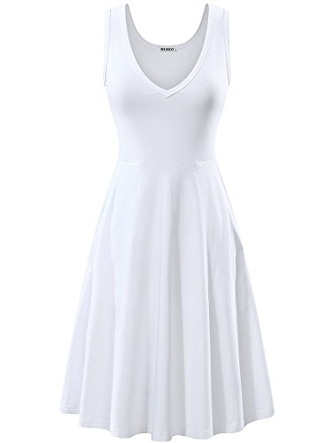 HUHOT White Dresses Women Casual A-Line Party Cocktail Skater Dresses Evening Sexy(White,Small)