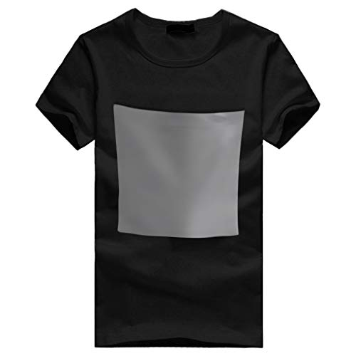 NUWFOR Men Short Sleeve T Shirt Blouse With a Giant Front Pocket BucketTee T Shirt (Black,XS US/S AS Bust:34.4'') by NUWFOR (Image #2)