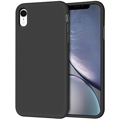 "iPhone XR Case, Anuck Soft Silicone Gel Rubber Bumper Phone Case with Anti-Scratch Microfiber Lining Hard Shell Shockproof Full-Body Protective Case Cover for Apple iPhone XR 6.1"" 2018 - Black"