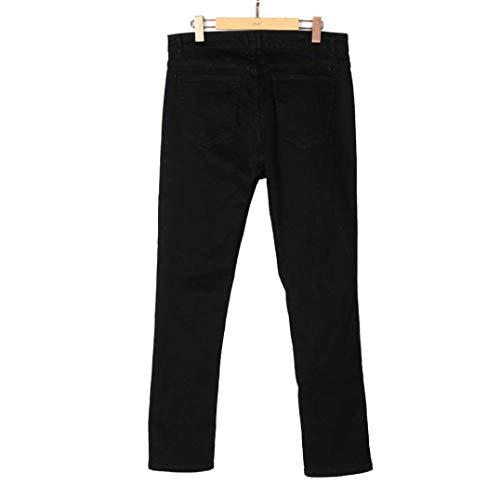 Casual Ufige Sottile Uomo Sfilacciati Pantaloni Lunghi Streetwear Jeans Ragazzo Traspirante Nne Elasticizzati Estate Moda Strappati Leisure Nero RwT8gqSxAx