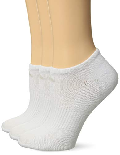 adidas Women's Cushioned No Show Socks (3-Pack), White/White, One Size