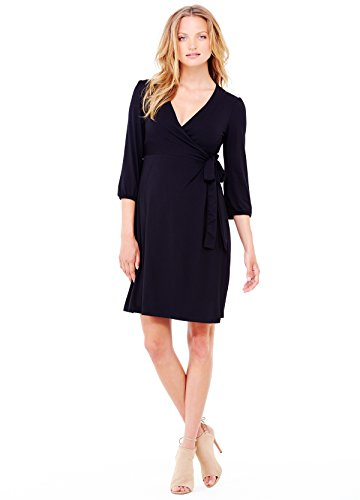 Ingrid & Isabel Womens 3/4 Sleeve Wrap Maternity Dress, Jet Black, X-Small