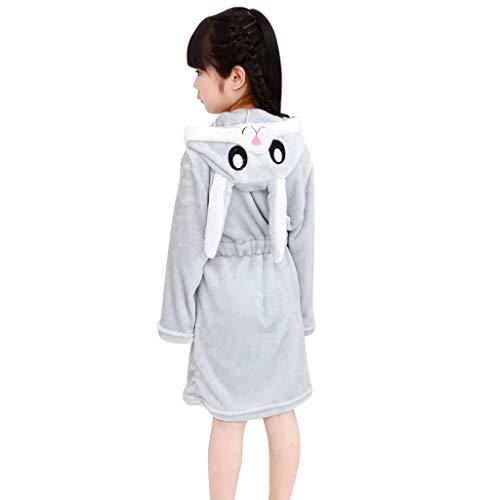 Jchen(TM) Little Kids Bathrobes,Unisex Cute Cartoon Rabbit Flannel Bathrobes Hoodie Towel Pajamas Nightgown (Age:4-5 Years Old, - Pajamas Crazy Flannel