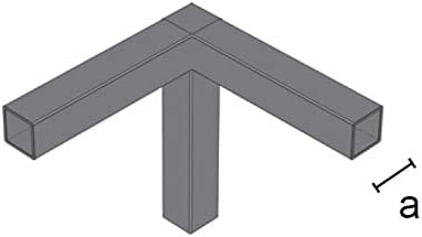 Junta de 3 v/ías para tubo cuadrado 25 x 25 mm para enganche de /ángulo para la creaci/ón de estructuras de hierro